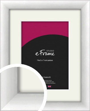 Modern Classic Silver Picture Frame & Mount, 5x7