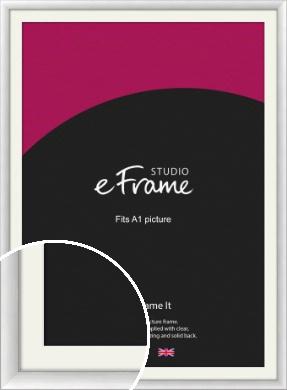 Modern Classic Silver Picture Frame & Mount, A1 (594x841mm) (VRMP-A020-M-A1)