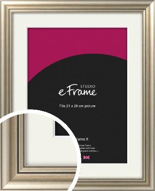 Classic Silver Picture Frame & Mount, 21x28cm (VRMP-211-M-21x28cm)