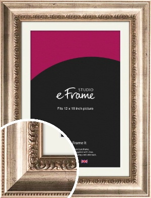 Baroque Silver Picture Frame & Mount, 12x18