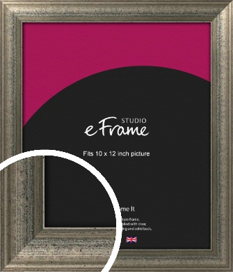 Artistically Distressed Silver Picture Frame, 10x12