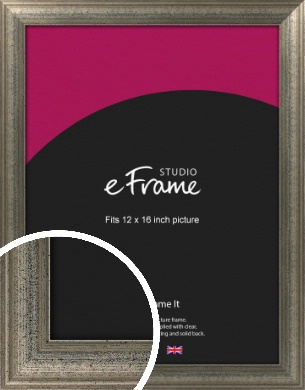 Artistically Distressed Silver Picture Frame, 12x16