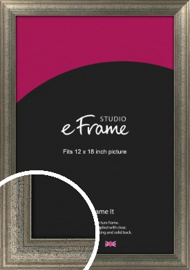 Artistically Distressed Silver Picture Frame, 12x18