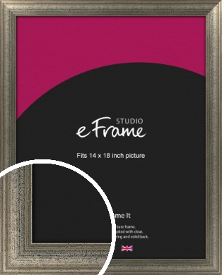 Artistically Distressed Silver Picture Frame, 14x18