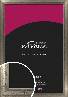 Artistically Distressed Silver Picture Frame, 16x24