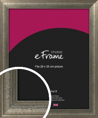 Artistically Distressed Silver Picture Frame, 28x35cm (VRMP-186-28x35cm)