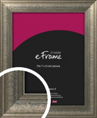 Artistically Distressed Silver Picture Frame, 7x9