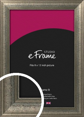 Artistically Distressed Silver Picture Frame, 8x12