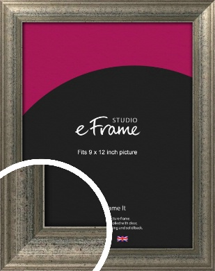 Artistically Distressed Silver Picture Frame, 9x12