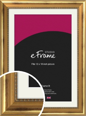 Charming Gold Picture Frame & Mount, 12x18