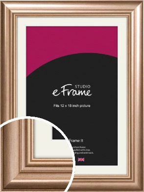 Restrained Scoop Bronze / Copper Picture Frame & Mount, 12x18