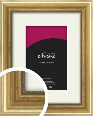 Beaded Detail Elegant Gold Picture Frame & Mount, 4x6