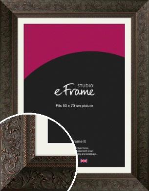 Extra Wide Oriental Red & Black Picture Frame & Mount, 50x70cm (VRMP-671-M-50x70cm)