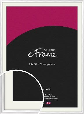 Curved Frosted Silver Picture Frame & Mount, 50x70cm (VRMP-A072-M-50x70cm)