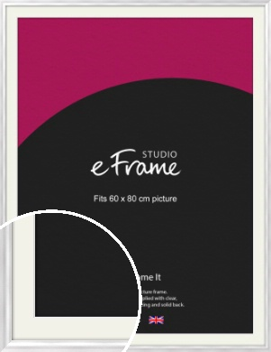 Curved Frosted Silver Picture Frame & Mount, 60x80cm (VRMP-A072-M-60x80cm)