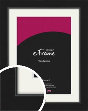 Refined Black Picture Frame & Mount, A4 (210x297mm) (VRMP-1345-M-A4)