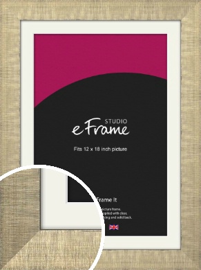 Linen Pattern Silver Picture Frame & Mount, 12x18