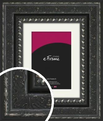 Antique Eastern Inspired Black Picture Frame & Mount (VRMP-1360-M)