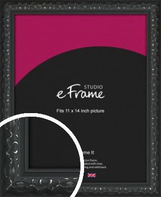 Ornamental Silver & Black Picture Frame, 11x14