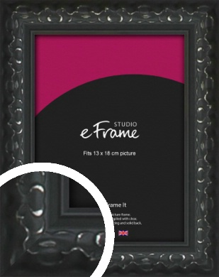 Ornamental Silver & Black Picture Frame, 13x18cm (5x7