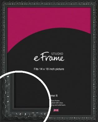 Ornamental Silver & Black Picture Frame, 14x18