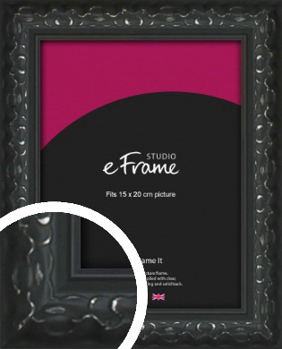 Ornamental Silver & Black Picture Frame, 15x20cm (6x8