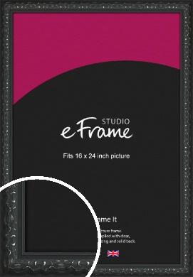 Ornamental Silver & Black Picture Frame, 16x24
