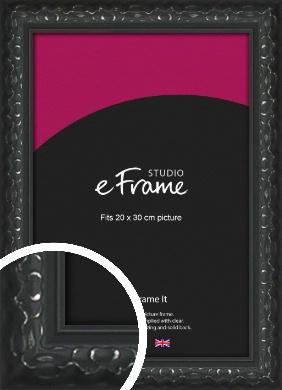 Ornamental Silver & Black Picture Frame, 20x30cm (8x12