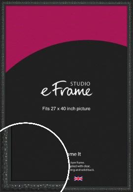 Ornamental Silver & Black Picture Frame, 27x40