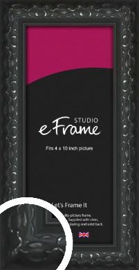 Ornamental Silver & Black Picture Frame, 4x10