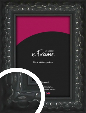 Ornamental Silver & Black Picture Frame, 4x6
