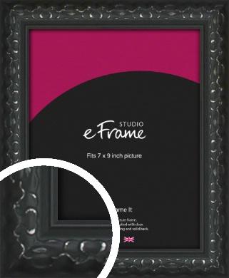 Ornamental Silver & Black Picture Frame, 7x9