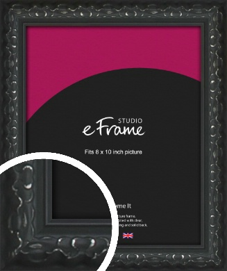 Ornamental Silver & Black Picture Frame, 8x10