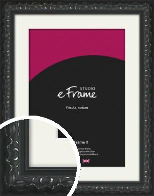 Ornamental Silver & Black Picture Frame & Mount, A4 (210x297mm) (VRMP-1364-M-A4)