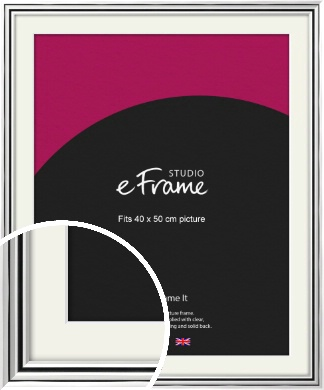 Stepped Polished Silver Picture Frame & Mount, 40x50cm (VRMP-A083-M-40x50cm)