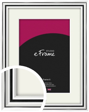 Stepped Polished Silver Picture Frame & Mount (VRMP-A083-M)