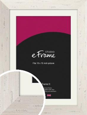 Wide Worn Cream Picture Frame & Mount, 10x15