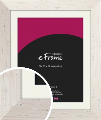 Wide Worn Cream Picture Frame & Mount, 11x14