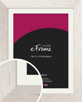 Wide Worn Cream Picture Frame & Mount, 12x16