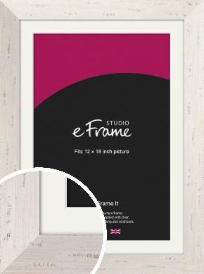 Wide Worn Cream Picture Frame & Mount, 12x18