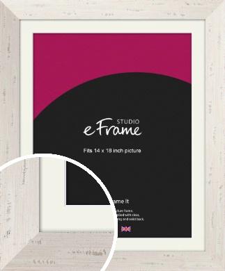 Wide Worn Cream Picture Frame & Mount, 14x18