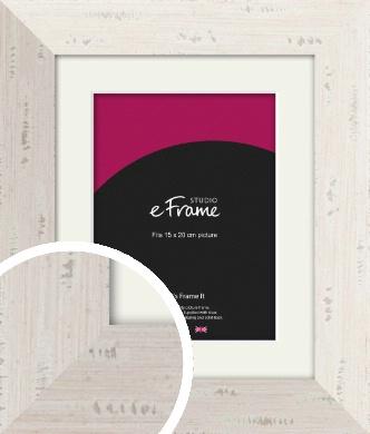 Wide Worn Cream Picture Frame & Mount, 15x20cm (6x8
