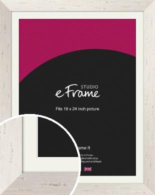 Wide Worn Cream Picture Frame & Mount, 18x24