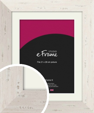 Wide Worn Cream Picture Frame & Mount, 21x28cm (VRMP-620-M-21x28cm)