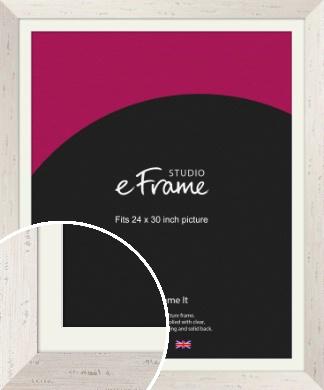 Wide Worn Cream Picture Frame & Mount, 24x30