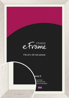 Wide Worn Cream Picture Frame & Mount, 24x36
