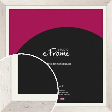 Wide Worn Cream Picture Frame & Mount, 30x30