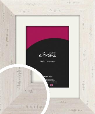 Wide Worn Cream Picture Frame & Mount, 5x7