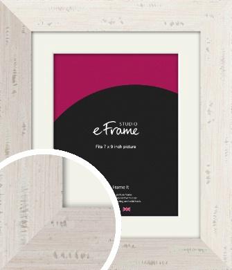 Wide Worn Cream Picture Frame & Mount, 7x9
