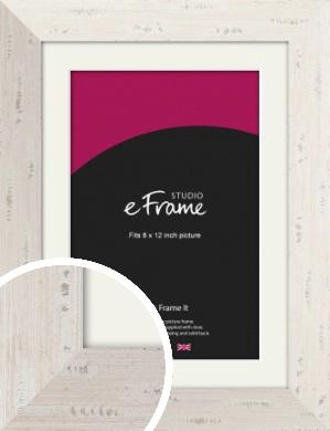 Wide Worn Cream Picture Frame & Mount, 8x12